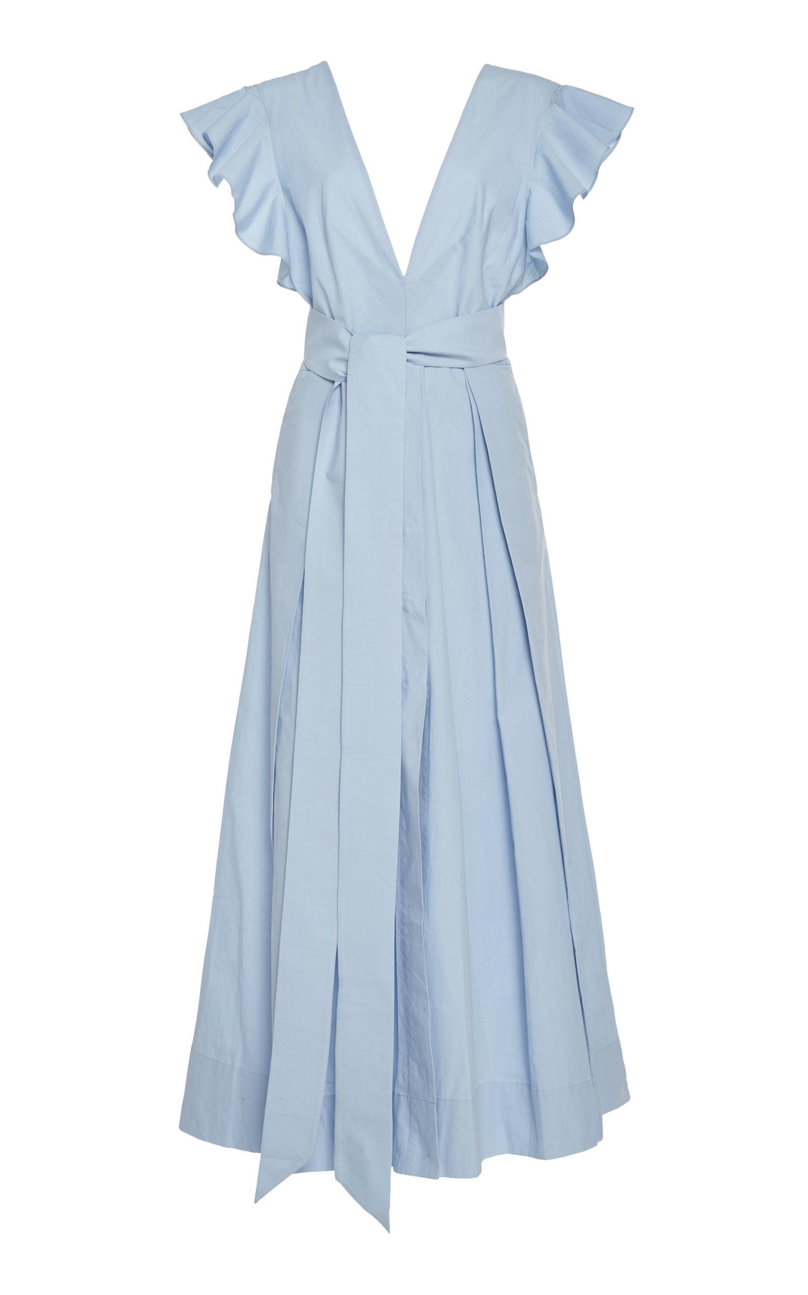 Kalita NEW POET BY THE SEA BELTED COTTON-POPLIN MAXI DRESS SIZE: XXS