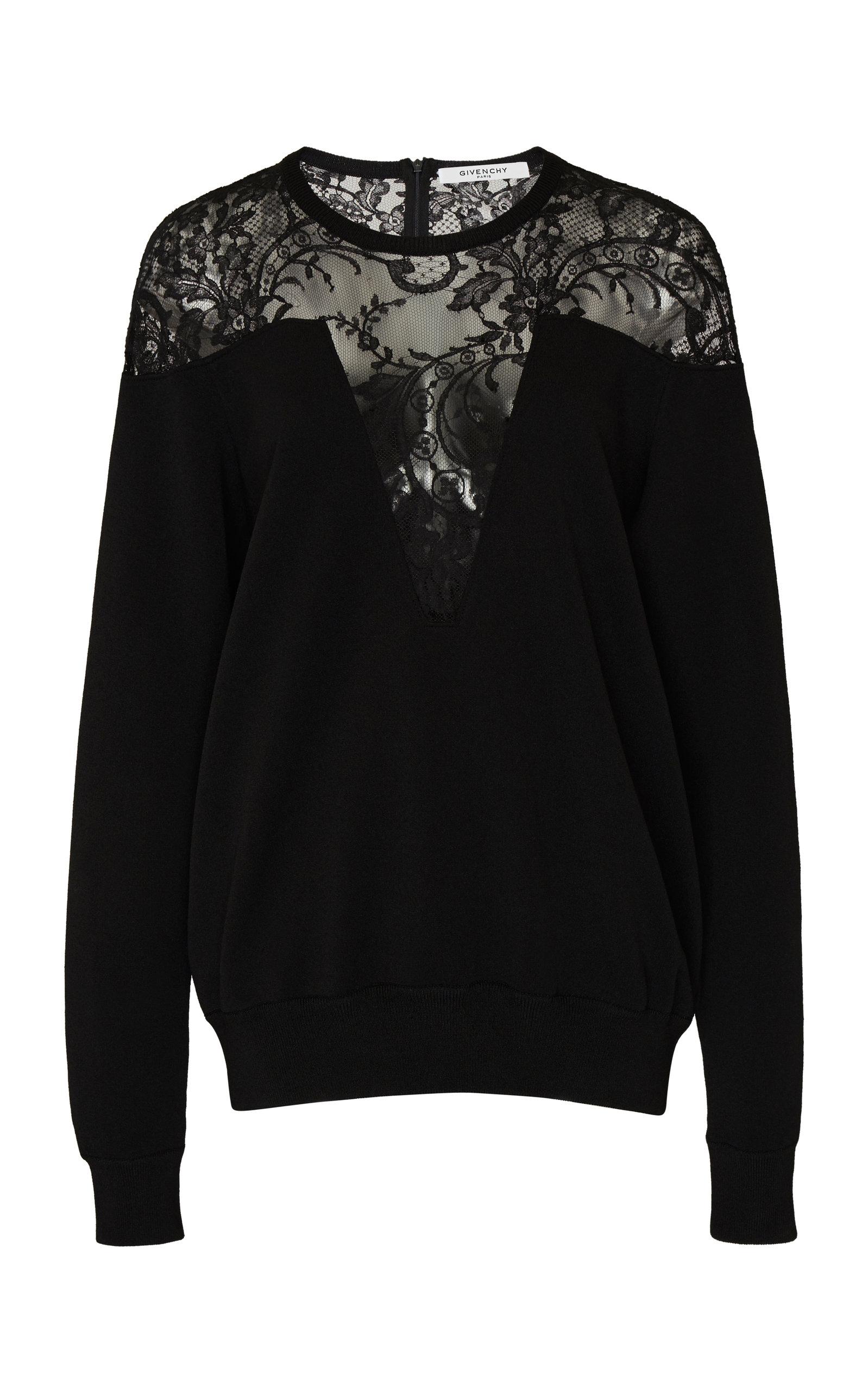 GIVENCHY | Givenchy Lace-Paneled Crepe Top | Goxip