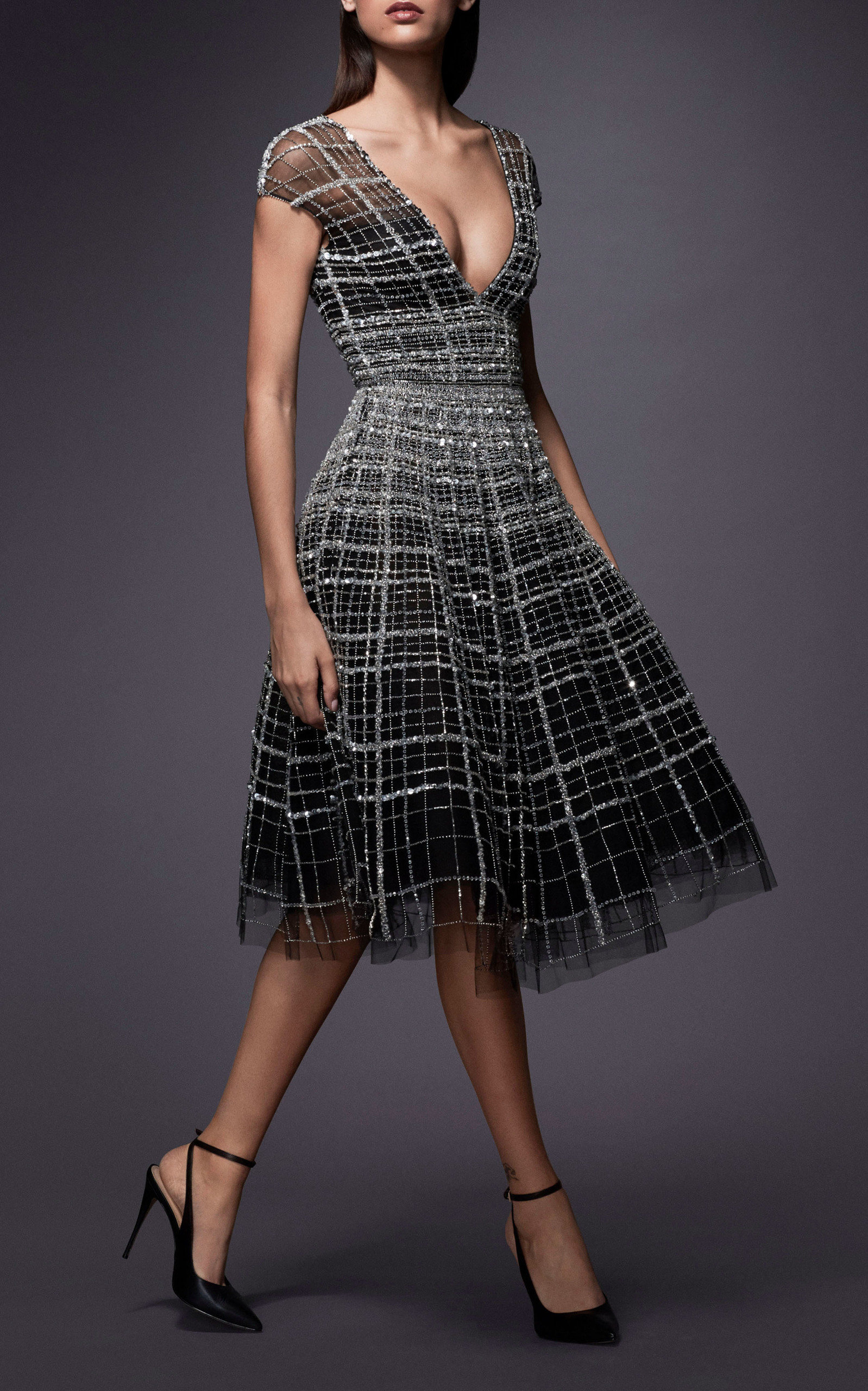 Linear Crystal Embellished Tulle Cocktail Dress by  274292cbc