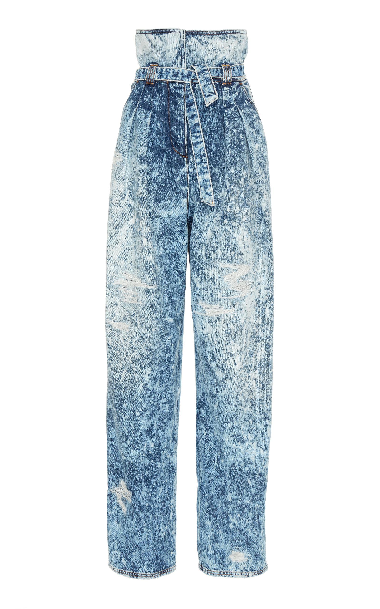6461591888 Paperbag High-Rise Wide-Leg Stretch Jeans by Balmain | Moda Operandi