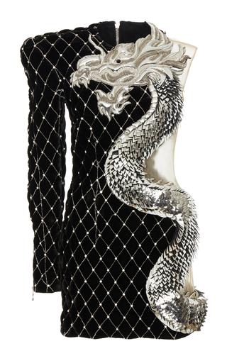 Dragon Embroidered Velvet Dress By Balmain Moda Operandi