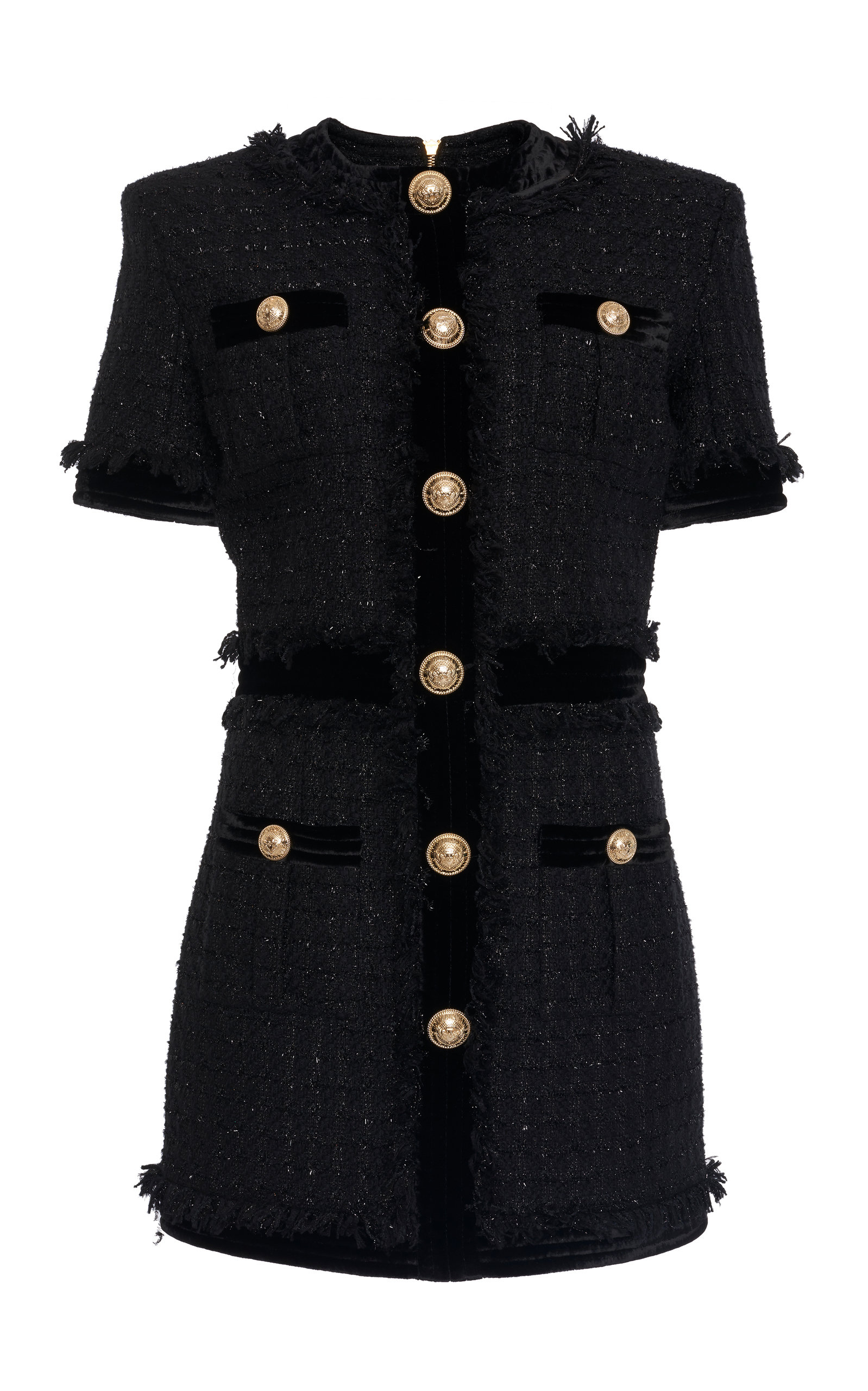 ff39de2d81acf7 Fringe-Detailed A-Line Tweed Dress by Balmain