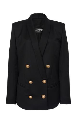 BALMAIN | Balmain Padded-Shoulder Buttoned Crepe Jacket | Goxip