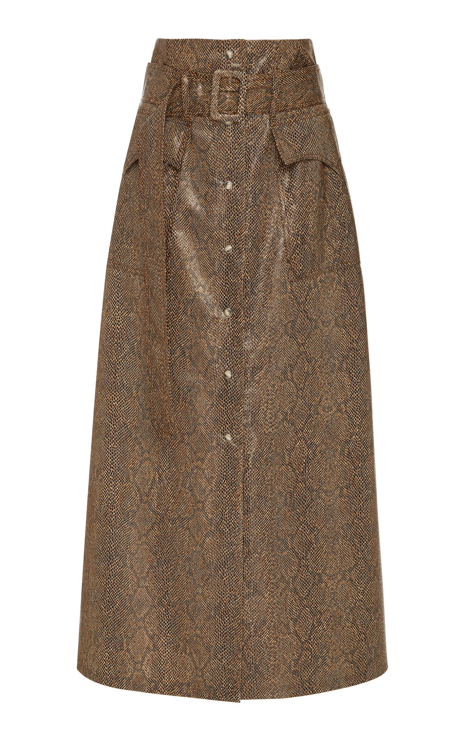 f6e9d04186 Aarohi Belted A-Line Vinyl Midi Skirt by Nanushka | Moda Operandi
