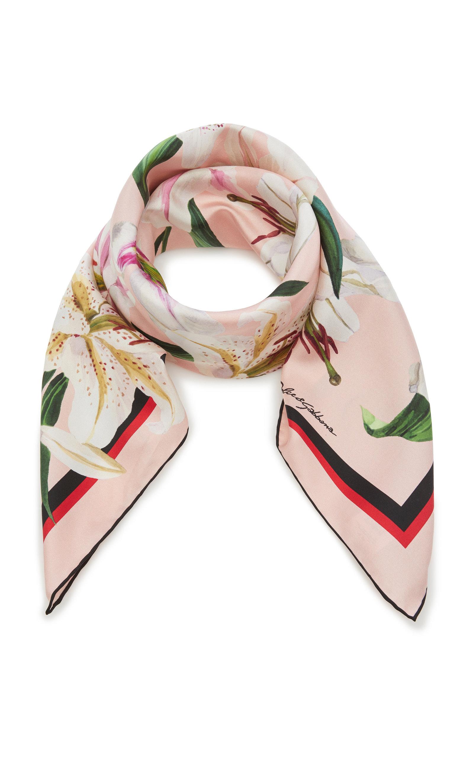 DOLCE & GABBANA | Dolce & Gabbana Floral-Print Silk-Twill Scarf | Goxip