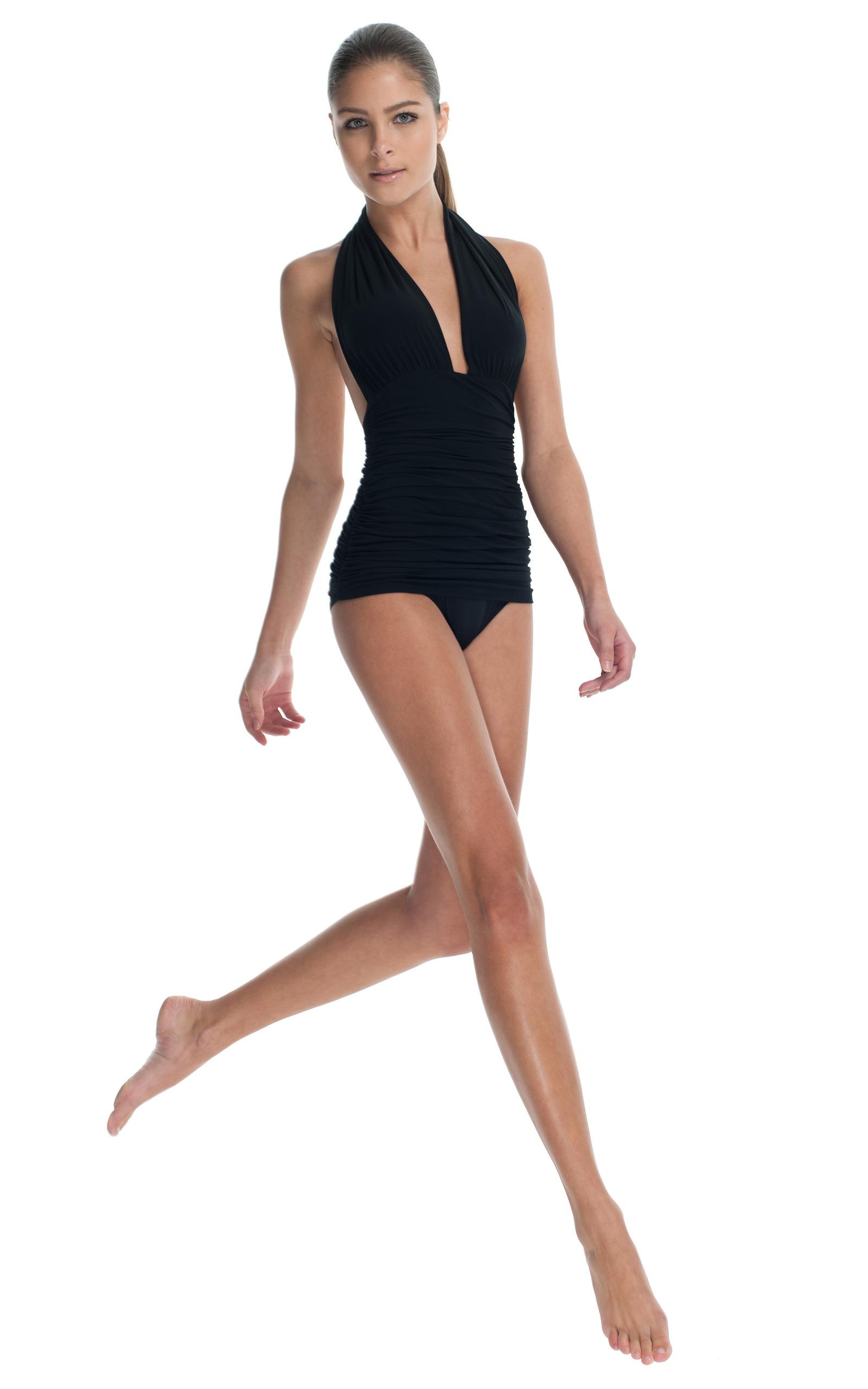 Black halter bill maillot by norma kamali moda operandi - Norma kamali costumi da bagno ...