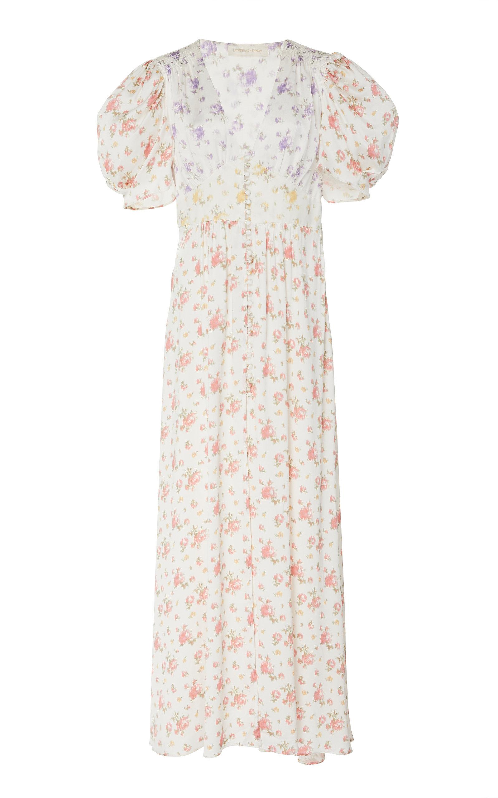 Loveshackfancy Dresses STACY FLORAL-PRINT SILK MAXI DRESS SIZE: 10