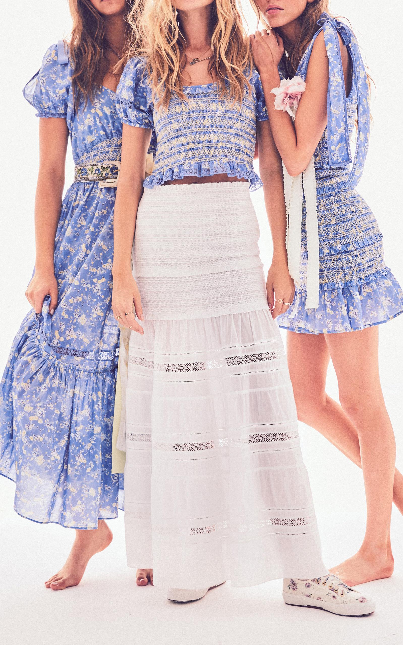 Angie Shirred Bow-Tie Detailed Cotton Midi Dress