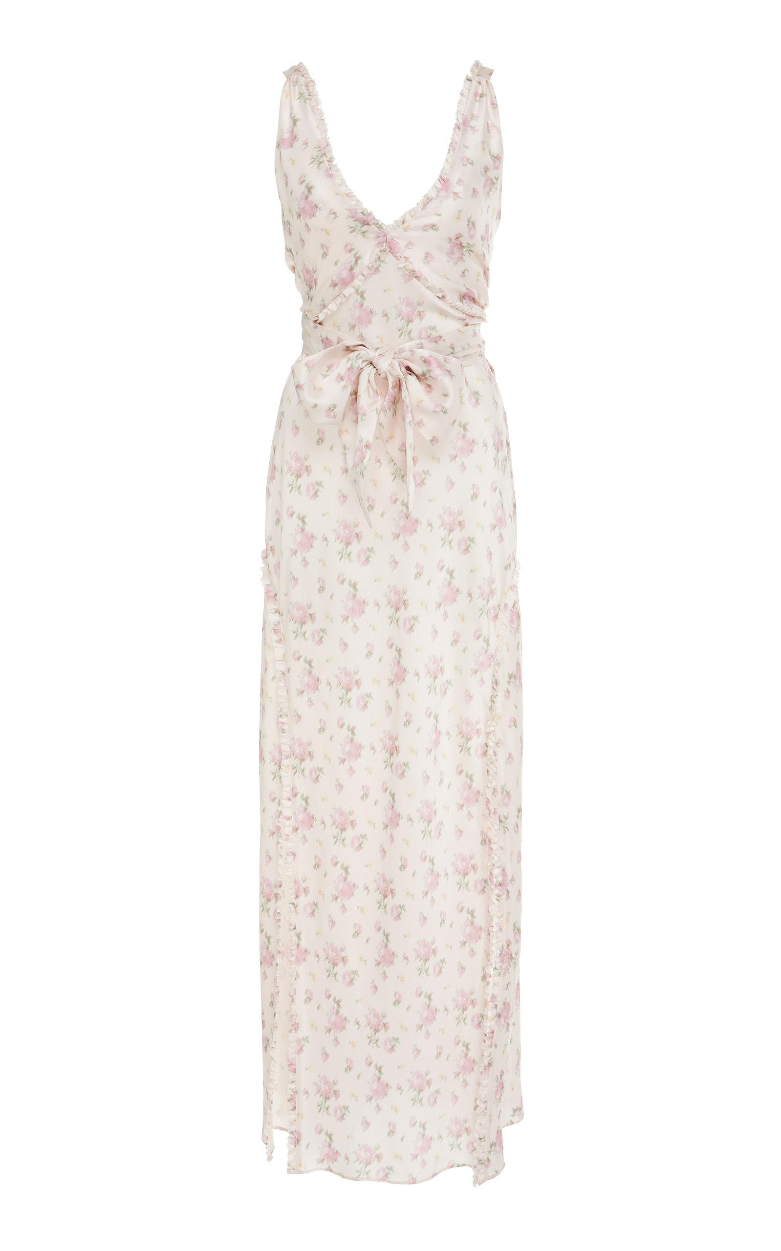 LOVESHACKFANCY   LoveShackFancy Kendall Bow-Tie Detailed Floral-Print Silk Dress   Goxip