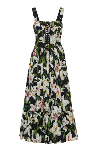 3a03b61d7b Dolce & GabbanaLace-Up Floral-Print Cotton-Poplin Midi Dress