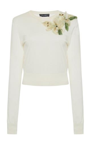 DOLCE & GABBANA | Dolce & Gabbana Embellished Silk Sweater | Goxip