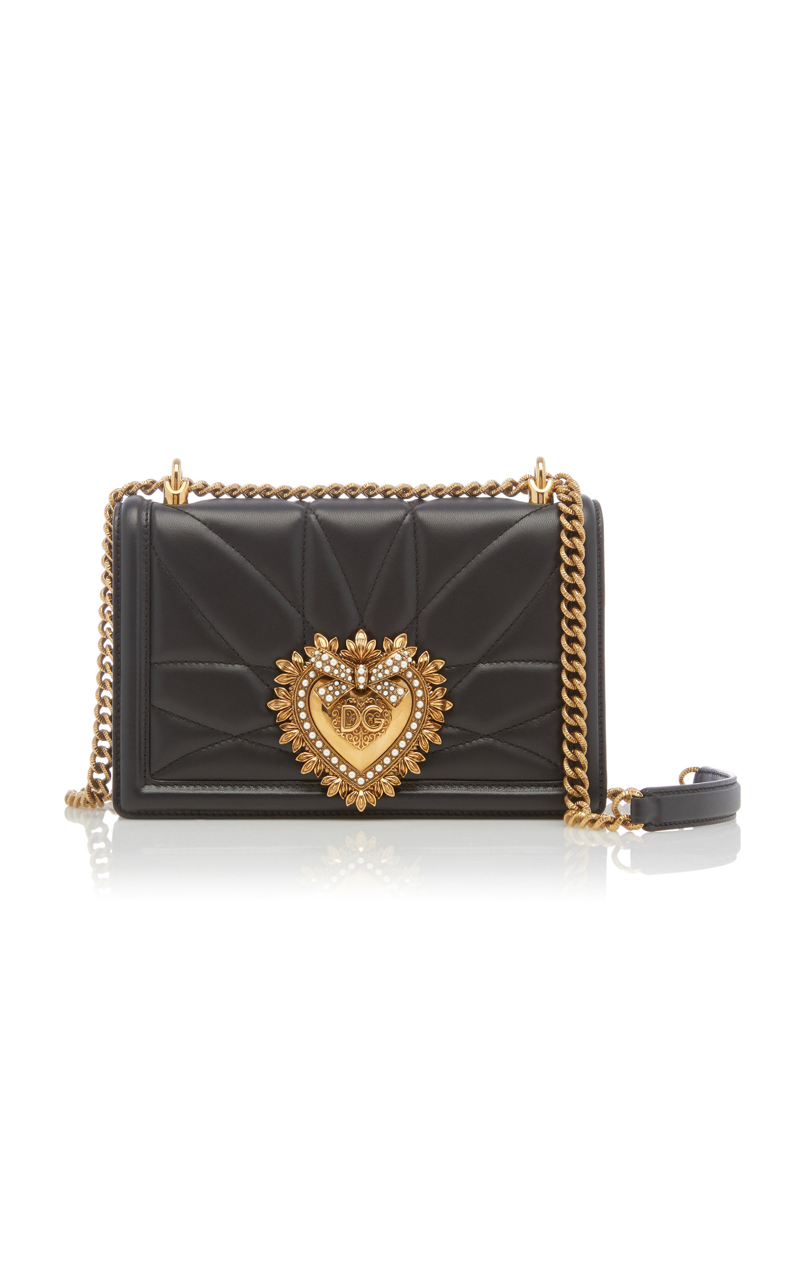 4e83c157ec Dolce & GabbanaDevotion Embellished Quilted Leather Shoulder Bag. CLOSE.  Loading