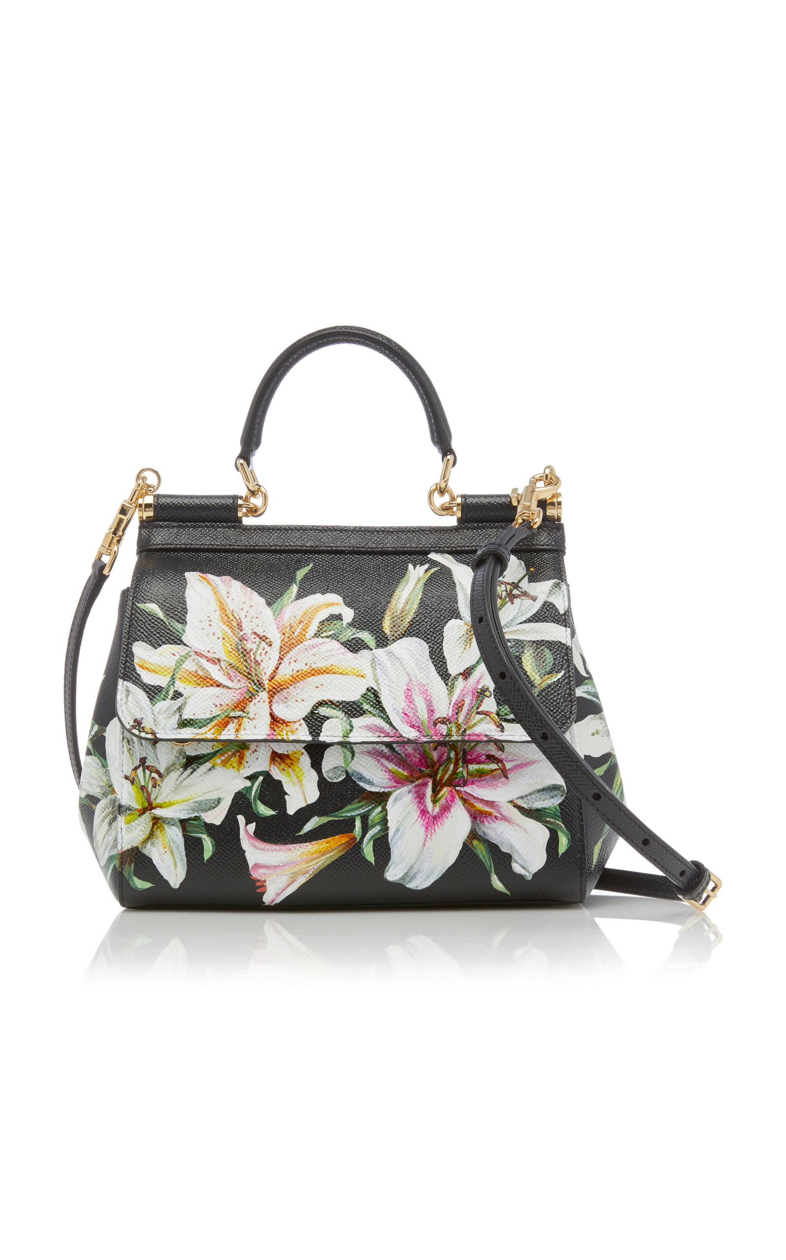 e2265827aa Dolce   GabbanaSicily Small Floral-Printed Textured-Leather Shoulder Bag