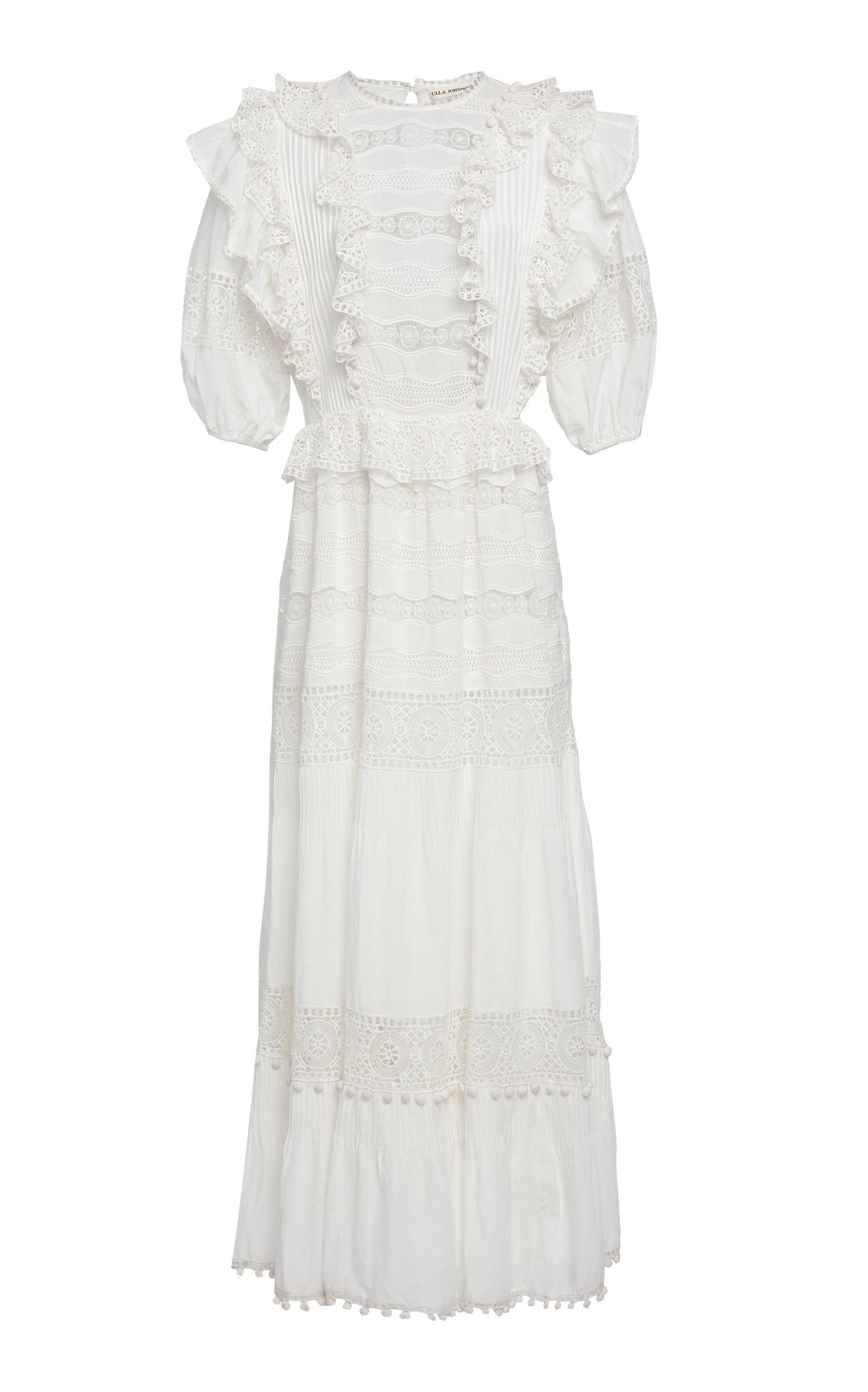 Guinivere Ruffled Cotton Blend Maxi Dress by Ulla Johnson