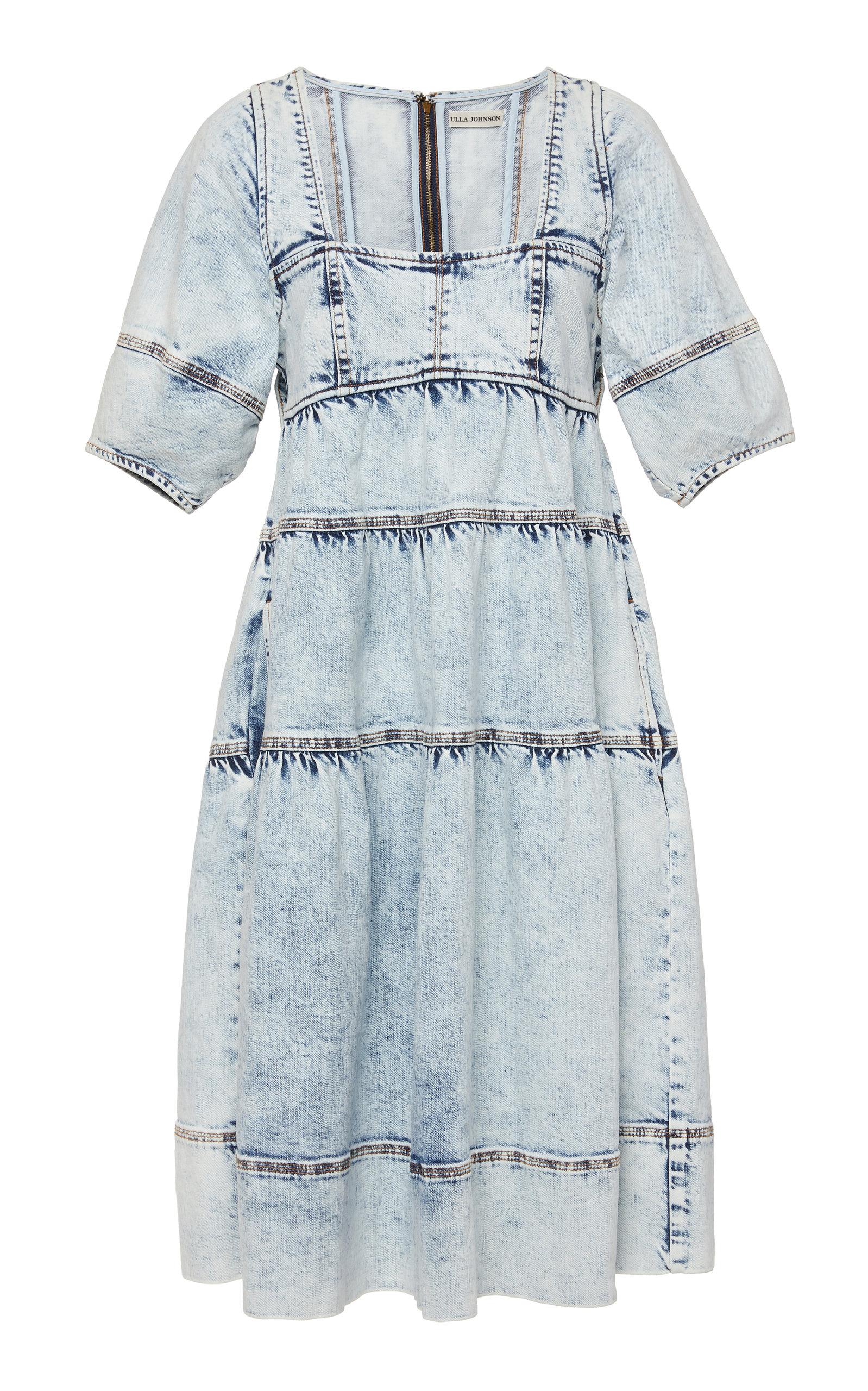 eda463237ac Ulla JohnsonDevi Acid Wash Denim Midi Dress. CLOSE. Loading