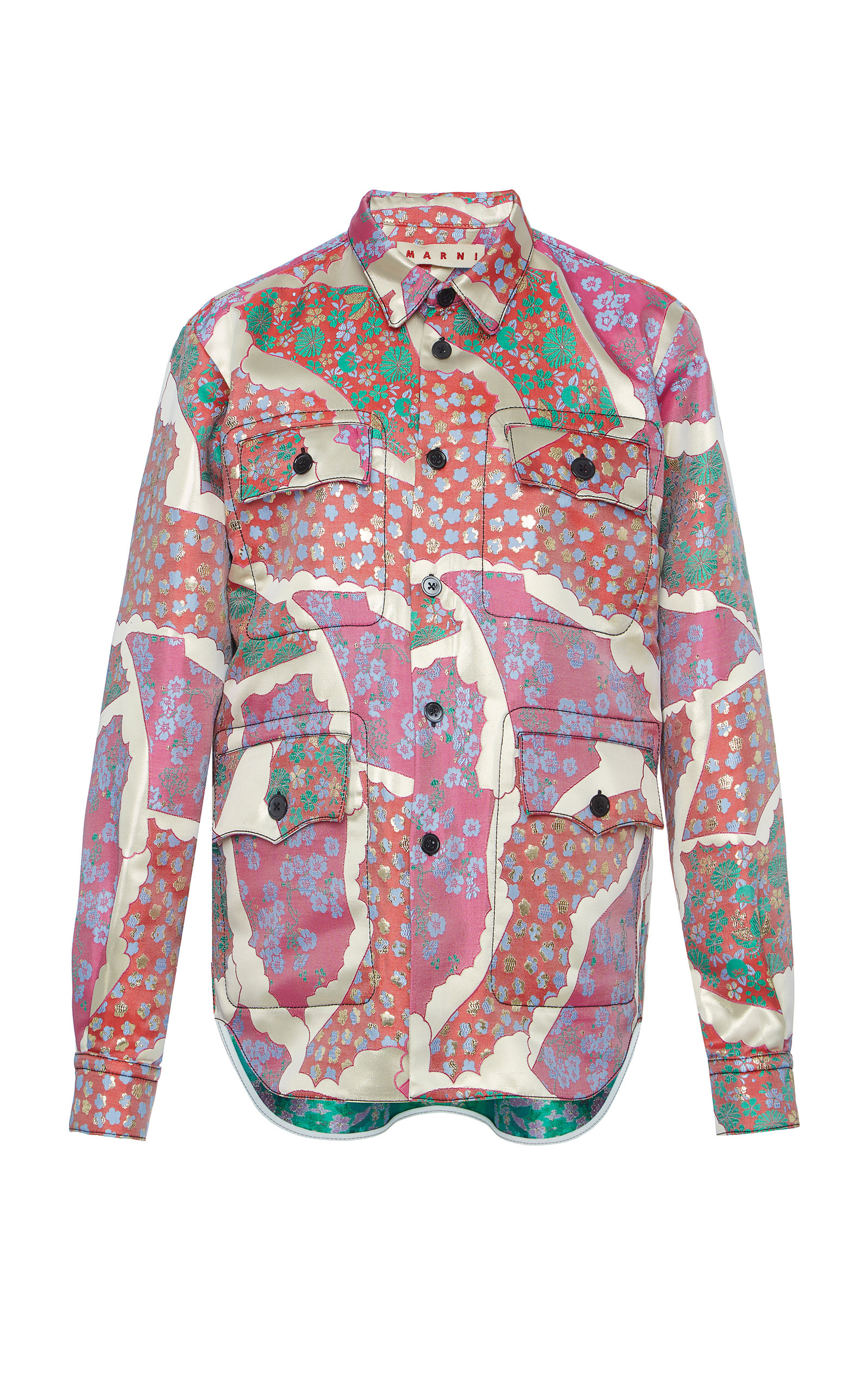 Satin Marni Modesens In Floral Polo Shirt Red Neck qwxPHPcWn5
