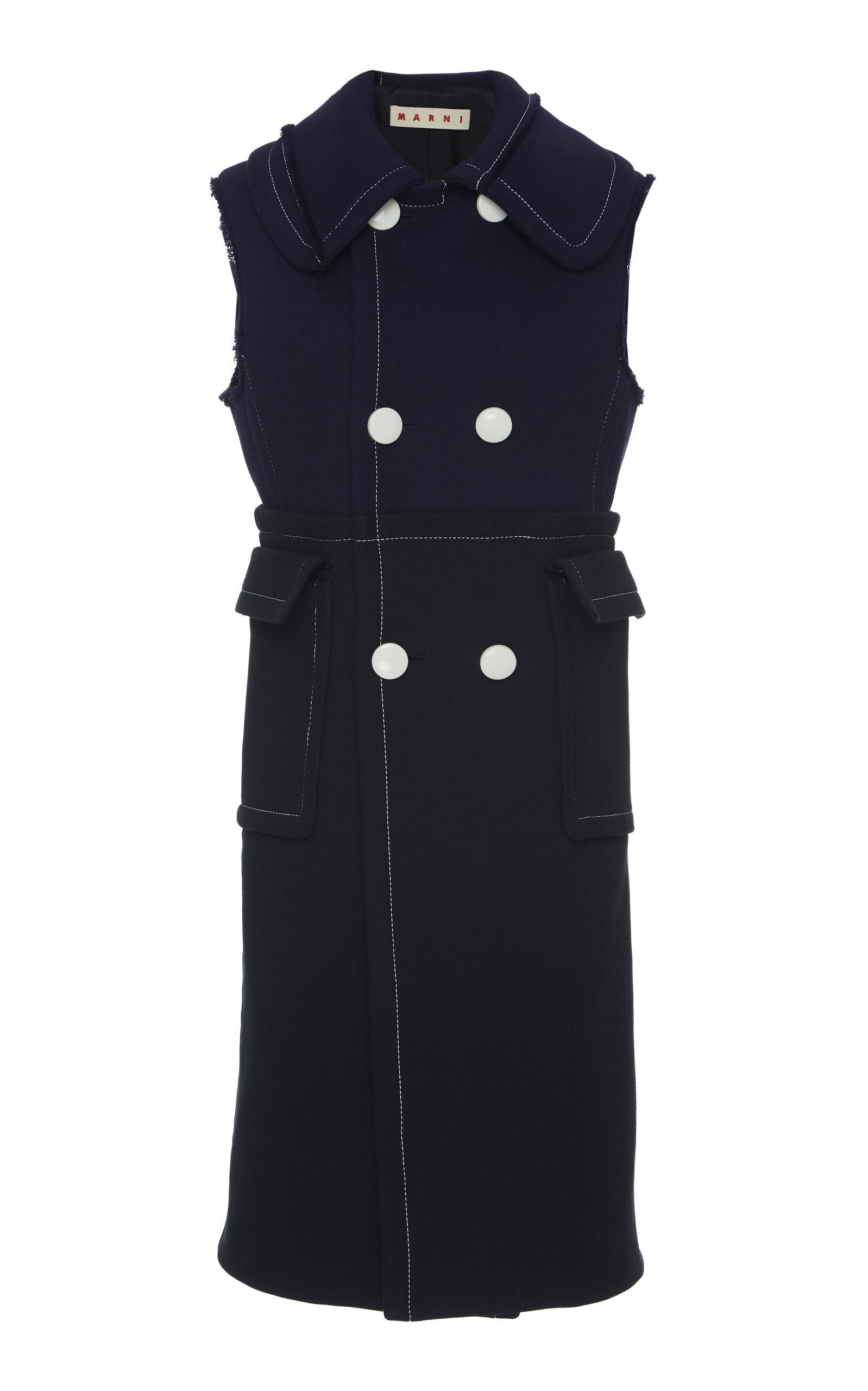 Woven Cotton Waistcoat Dress in Navy