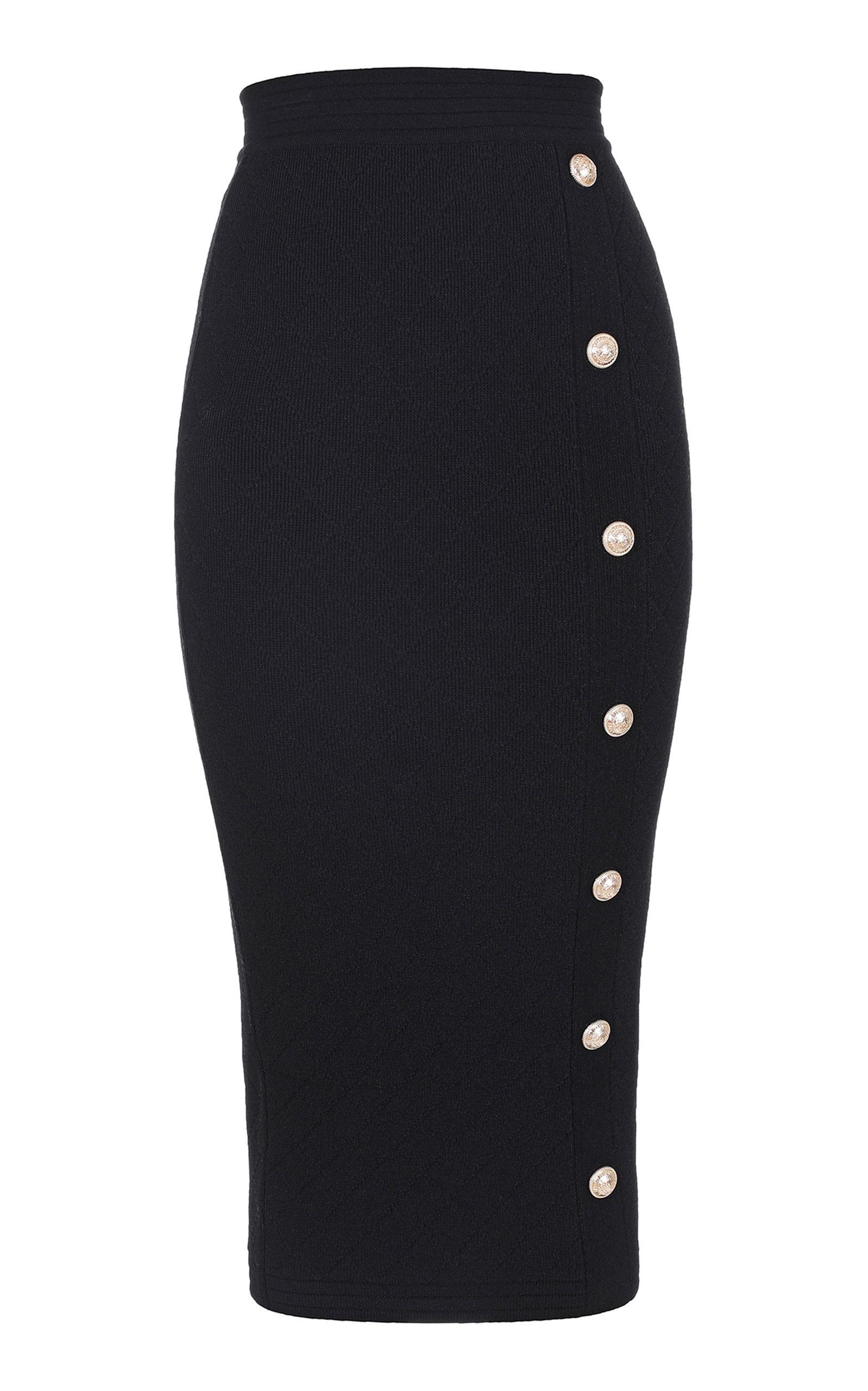 d782356331b8 Button Detailed Stretch Jacquard-Knit Midi Skirt by Balmain | Moda ...