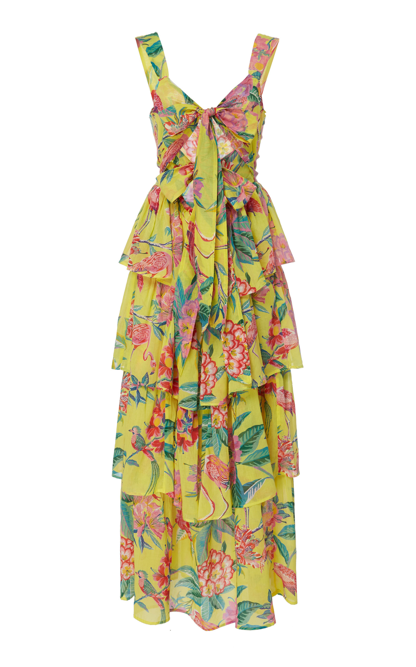 BANJANAN Aster Cotton Voile Tropical Dress in Yellow