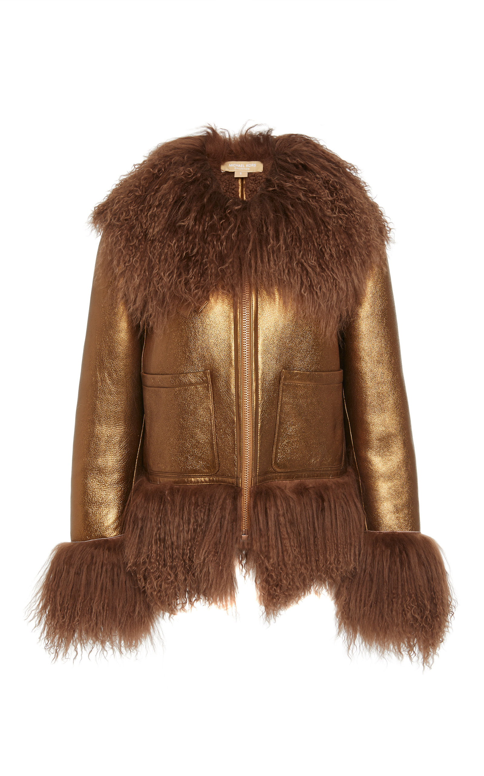 MICHAEL KORS | Michael Kors Collection Metallic Shearling Leather Bomber Jacket | Goxip