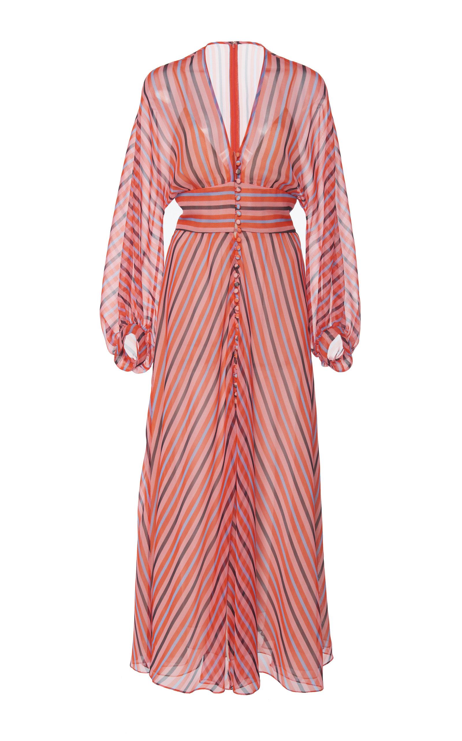 LELA ROSE | Lela Rose Striped Chiffon Maxi Dress | Goxip