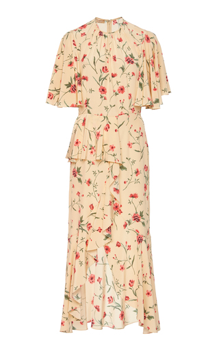 c04da99a29 Michael Kors CollectionRuffled Floral-Print Silk-Crepe Midi Dress