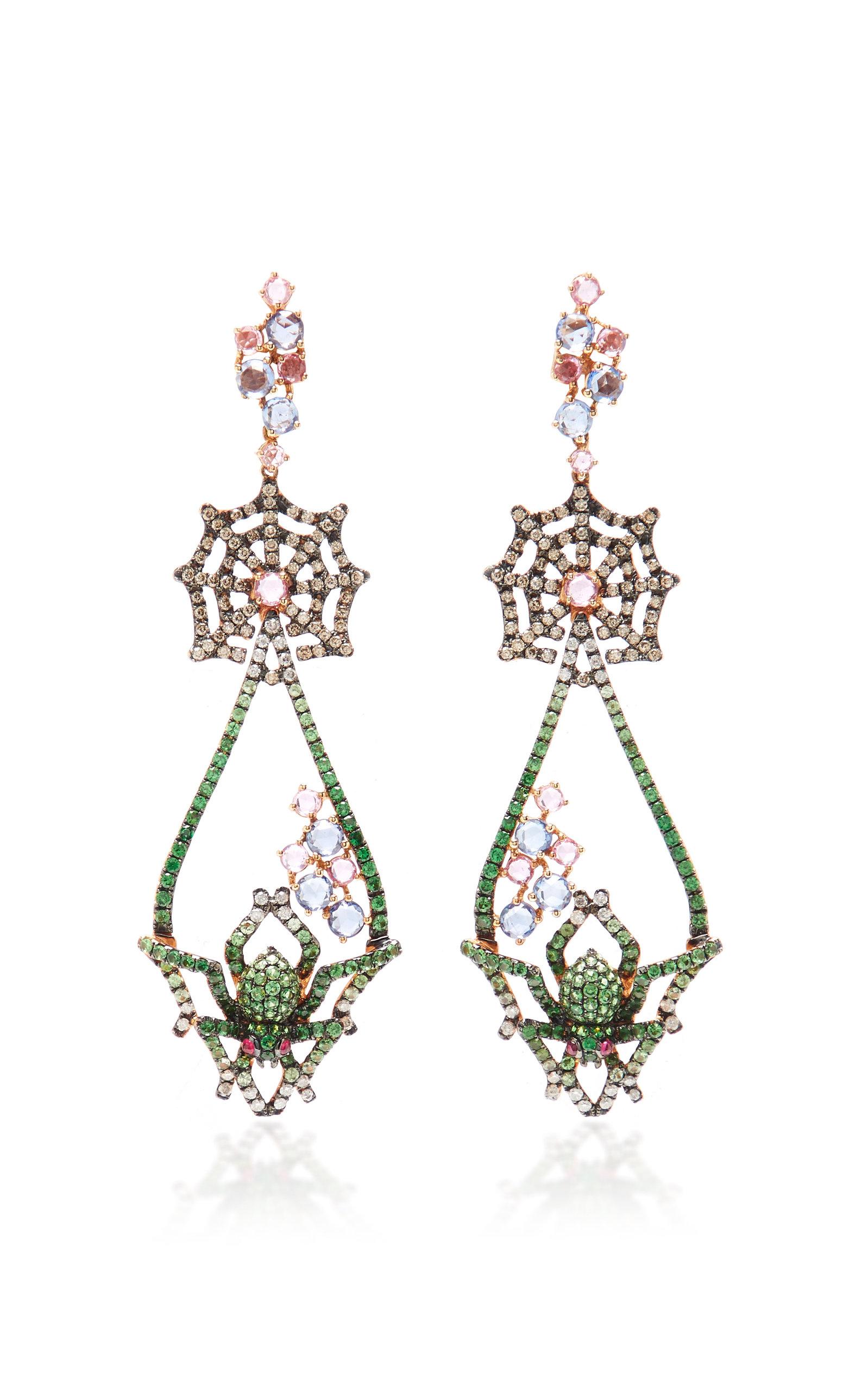 674d4f98f 18K Rose Gold, Tsavorite, Sapphire, Diamond And Ruby Earrings by ...