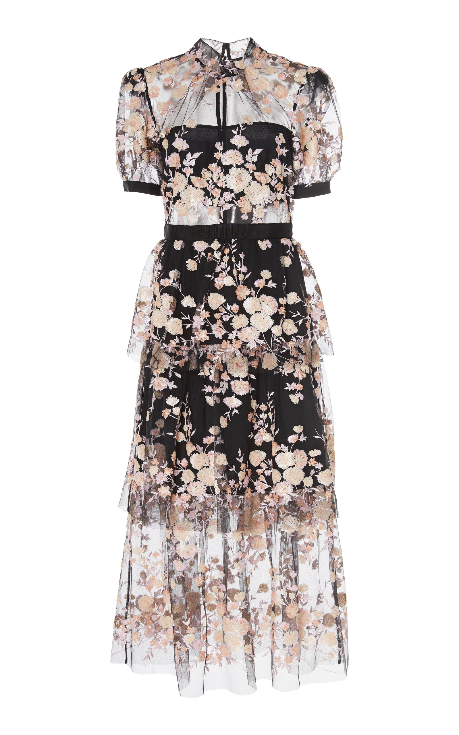 f8c0568a7dcfd Floral-Embroidered Mesh Midi Dress