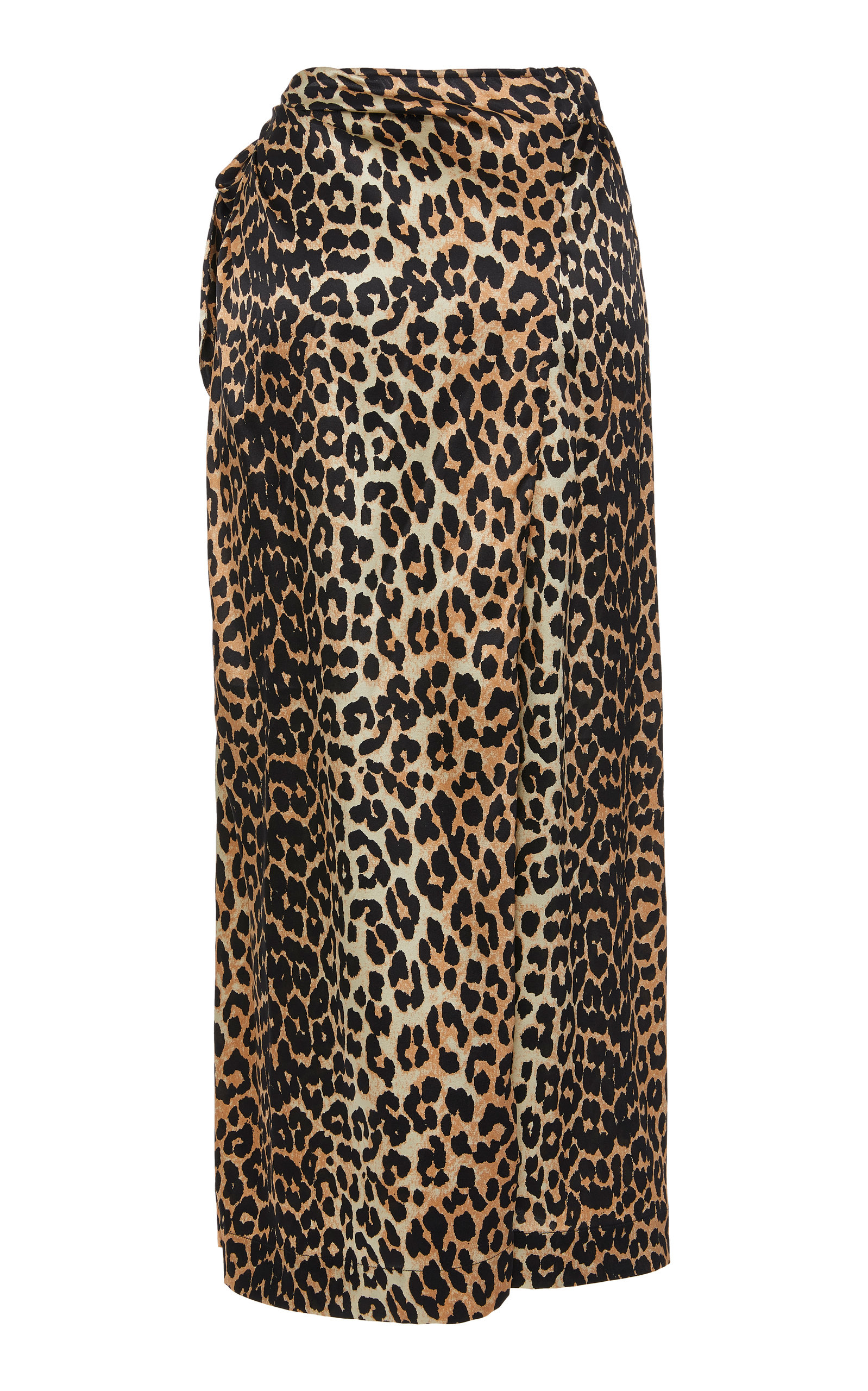 d509908150ea49 Leopard-Print Silk-Blend Satin Midi Skirt by Ganni | Moda Operandi
