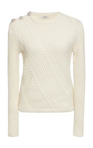 a429cb6ce6 Button-Detailed Cotton-Blend Cable Knit Sweater by Ganni | Moda Operandi