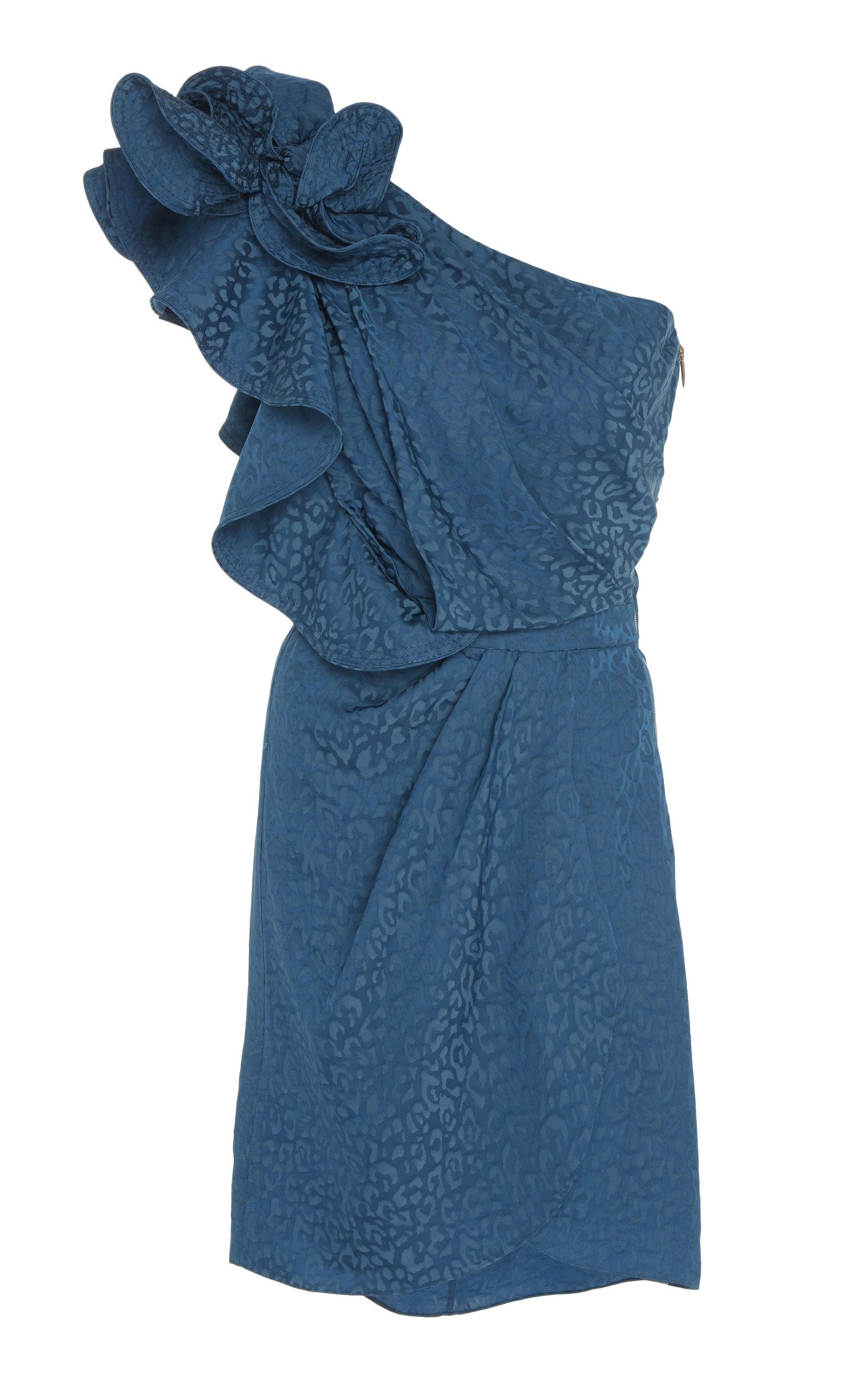 Oponent Interpretation One Shoulder Satin Jacquard Mini Dress by Johanna Ortiz