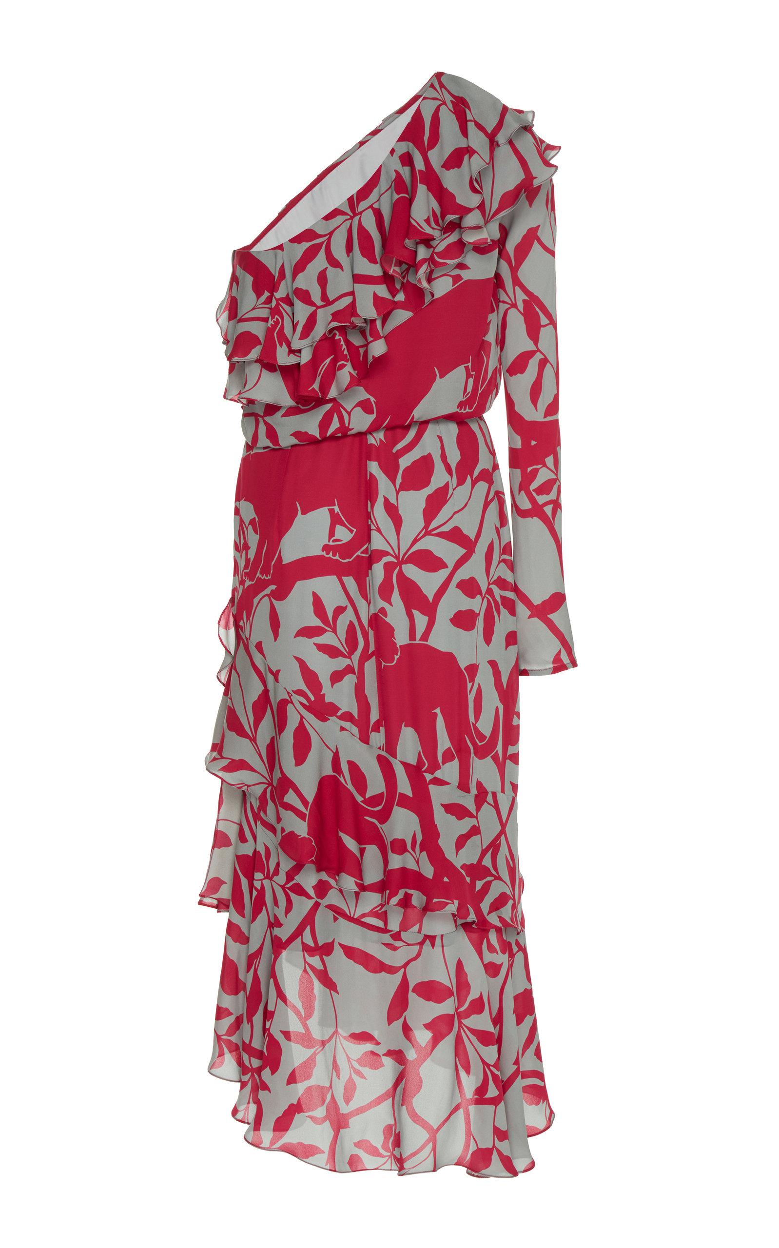 5a0f78cad9 Exclusive Temple Dancer One-Shoulder Ruffled Silk-Georgette Midi Dress