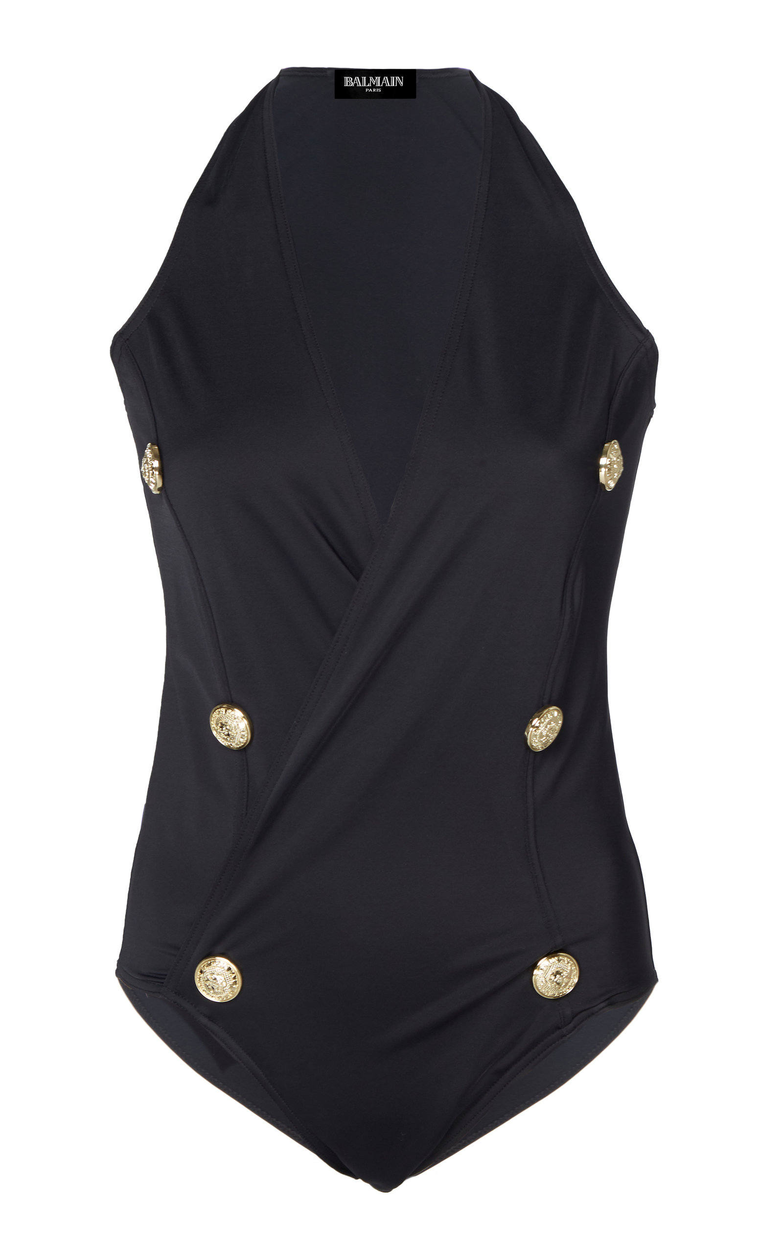 a4130103b8 BALMAIN Button-Embellished Stretch-Jersey Swimsuit in Black