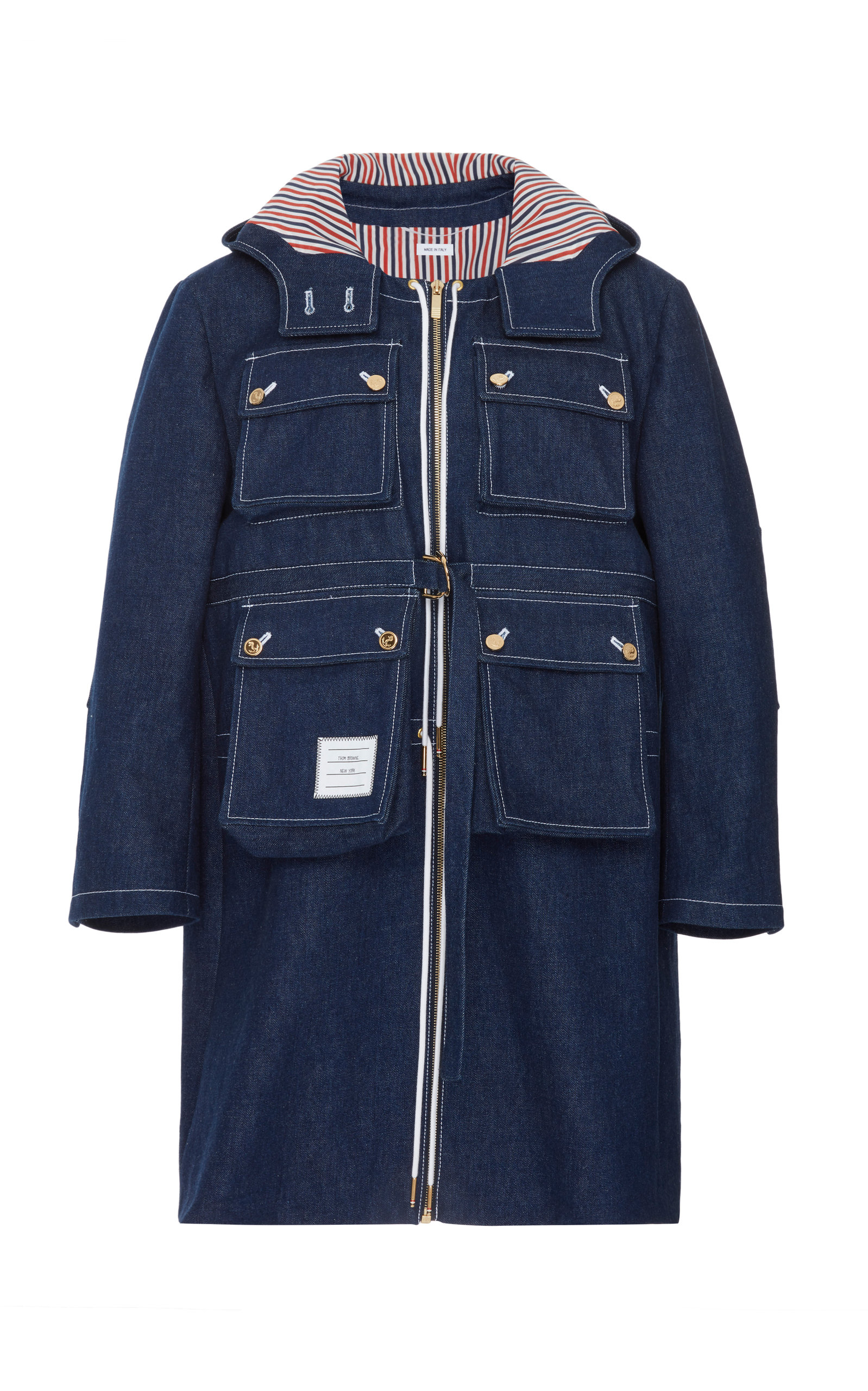 Thom Browne HOODED STRIPE-DETAILED DENIM OVERCOAT