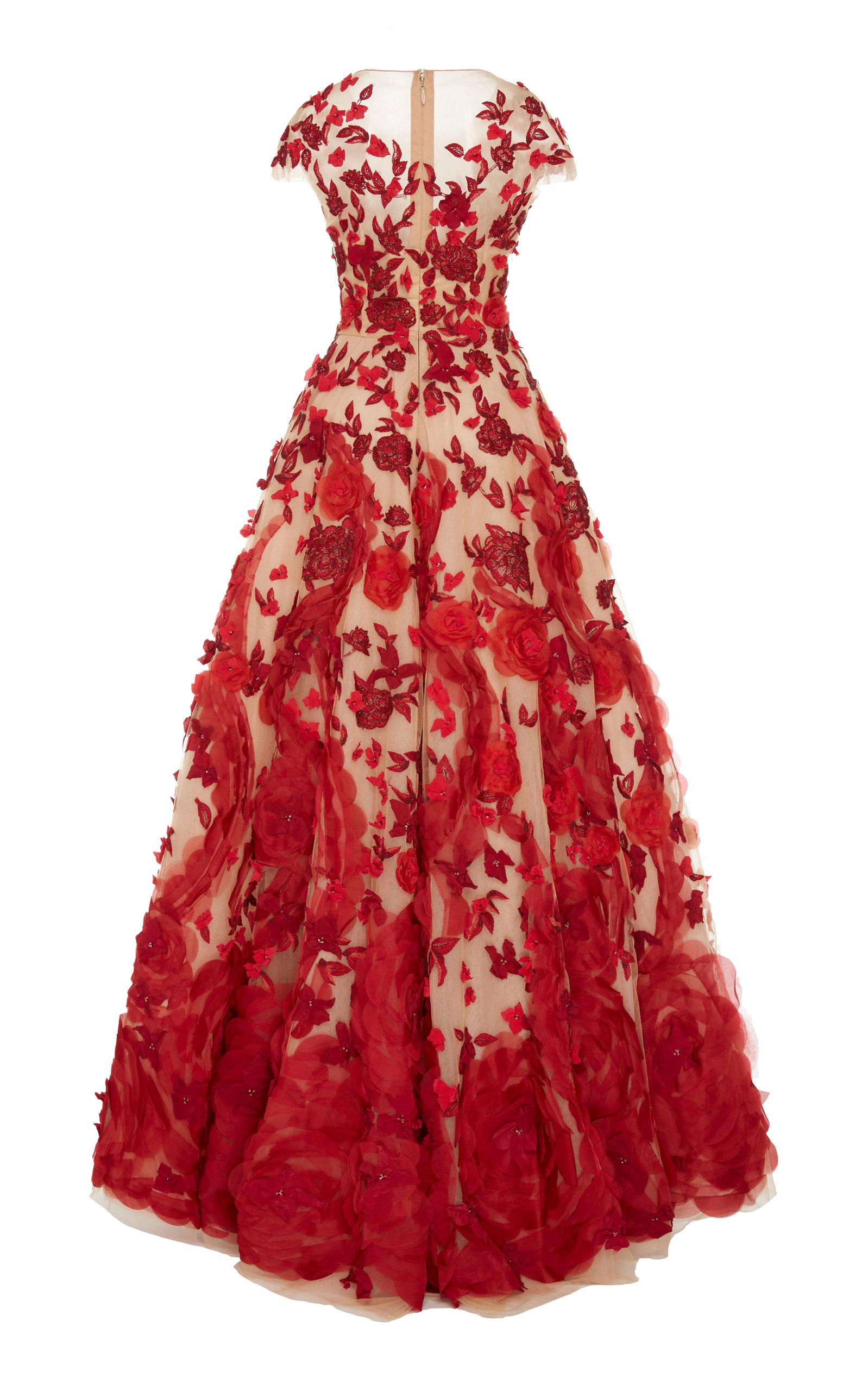 Illusion V Neck Ballgown With Silk Organza Flowers By Moda Operandi