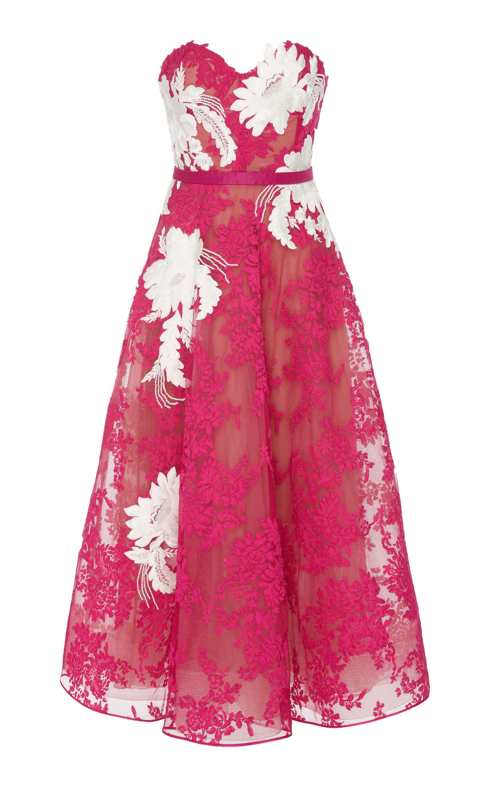 MARCHESA   Marchesa Strapless Corded Lace Midi Dress   Goxip