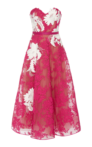 MARCHESA | Marchesa Strapless Corded Lace Midi Dress | Goxip