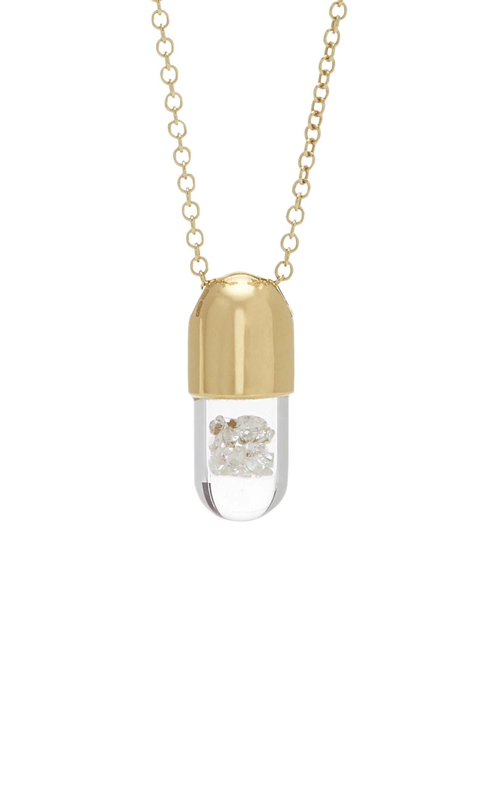 9 K Mini Diamond 'elixir Of Strength' Pendant And Chain by Robinson Pelham