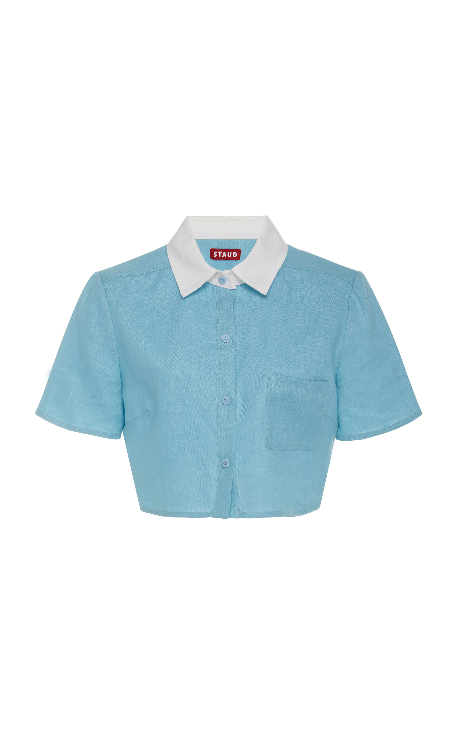 Staud Tops Copa Linen Polo Top