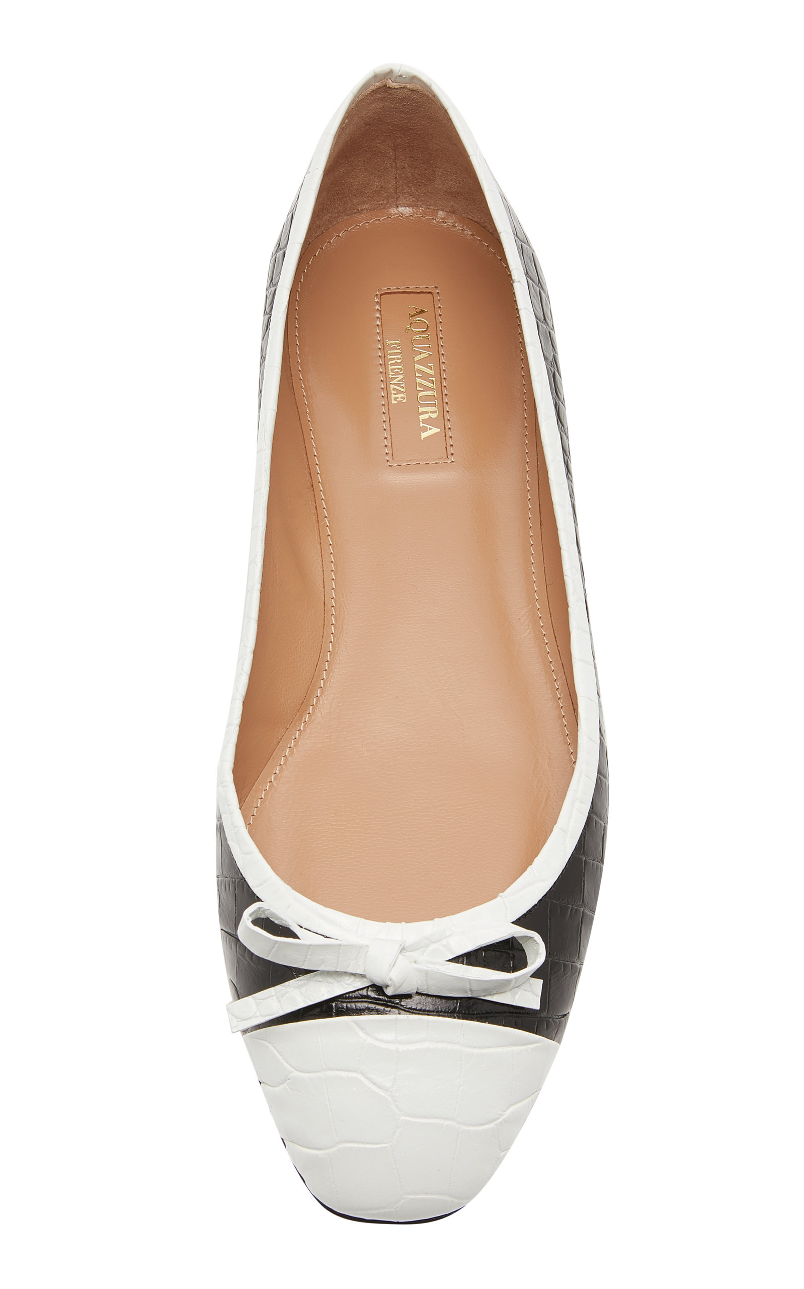 2e2f4f2fc9e29 AquazzuraMoss Two-Tone Croc-Effect Leather Ballet Flats. CLOSE. Loading.  Loading
