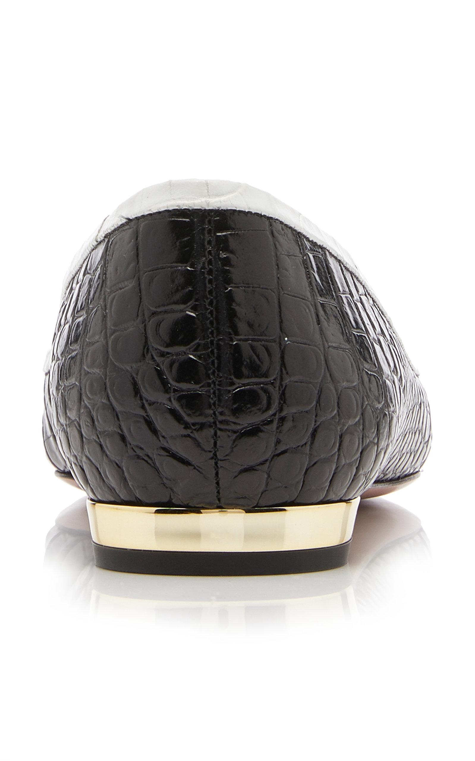 e95e1171ca174 Moss Two-Tone Croc-Effect Leather Ballet Flats by Aquazzura | Moda ...