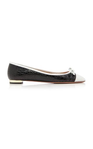 bd93b2363ce94 Moss Two-Tone Croc-Effect Leather Ballet Flats by Aquazzura | Moda Operandi