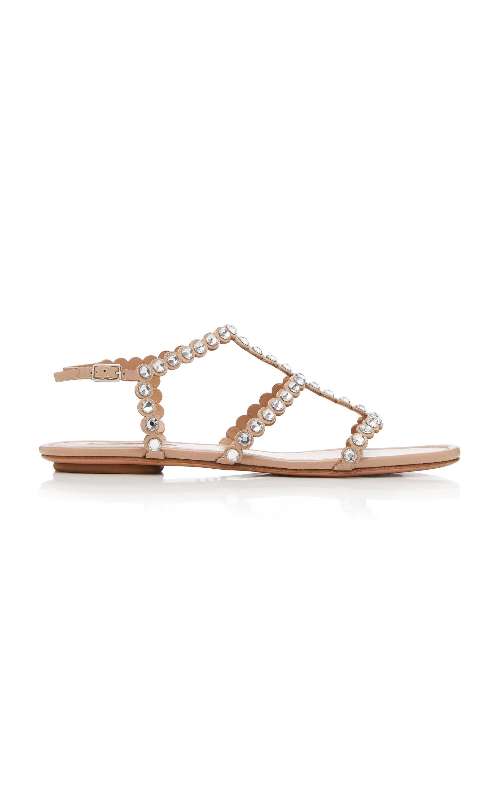 ee84c2c97 AquazzuraTequila Crystal-Embellished Leather Sandals. CLOSE. Loading