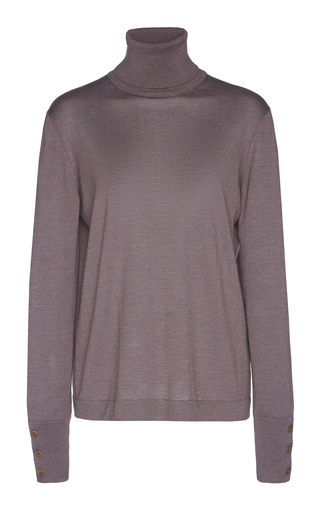 AGNONA | Agnona Eternals Button-Detailed Cashmere Silk Turtleneck | Goxip