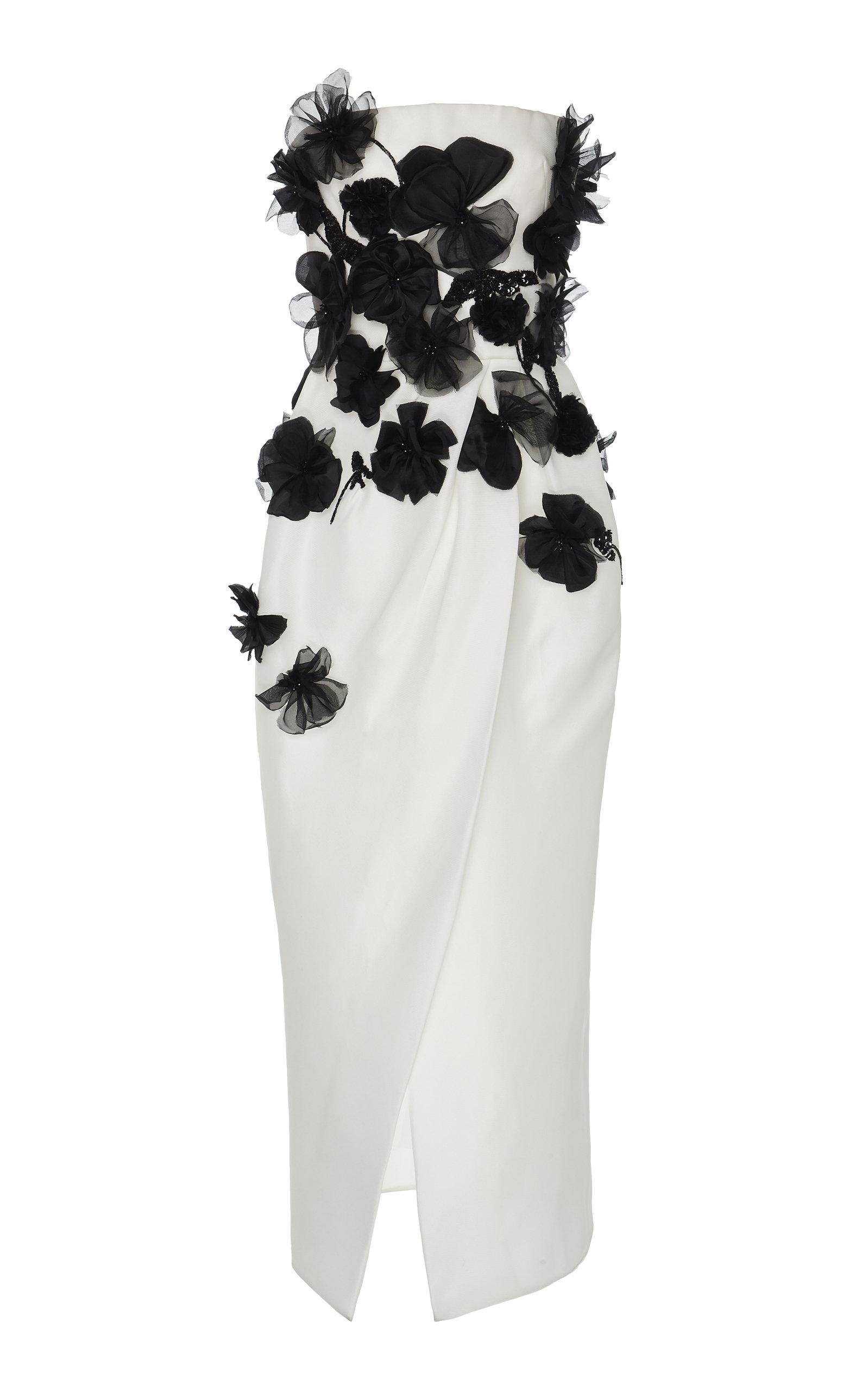 95e51d326351 Monique LhuillierStrapless Flower-Embellished Silk Midi Dress. CLOSE.  Loading