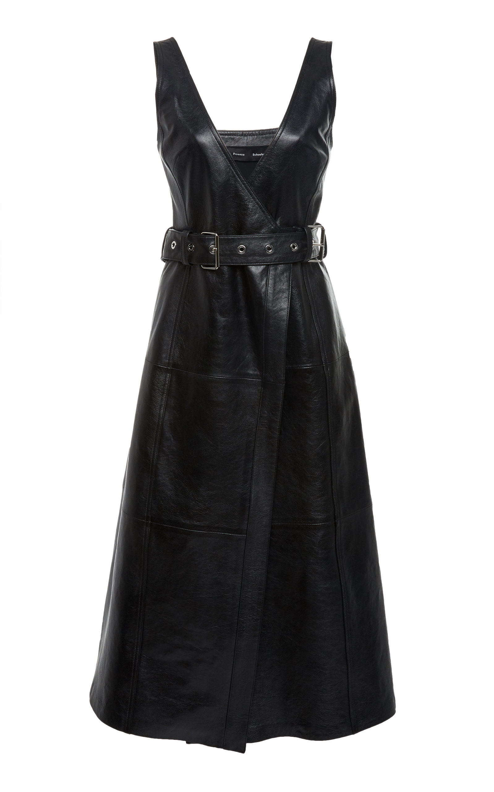 belted-textured-leather-midi-dress by proenza-schouler