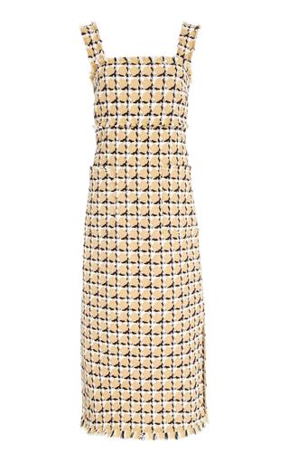 OSCAR DE LA RENTA | Oscar de la Renta Geometric Check Sleeveless Midi Dress | Goxip