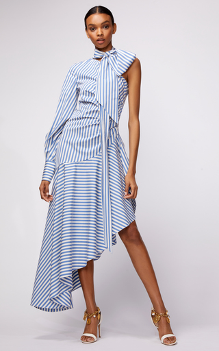 OSCAR DE LA RENTA | Oscar de la Renta Asymmetric One Sleeve Stripe Midi Dress With Tie At Neck | Goxip