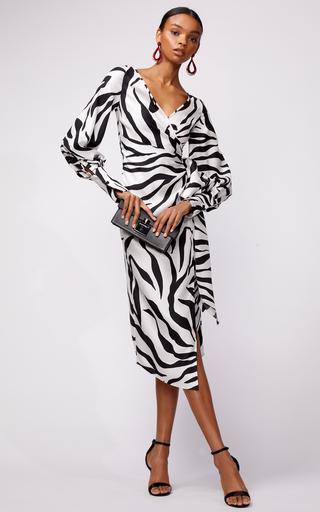 Wrap Front Zebra Print Midi Dress By Oscar De La Renta