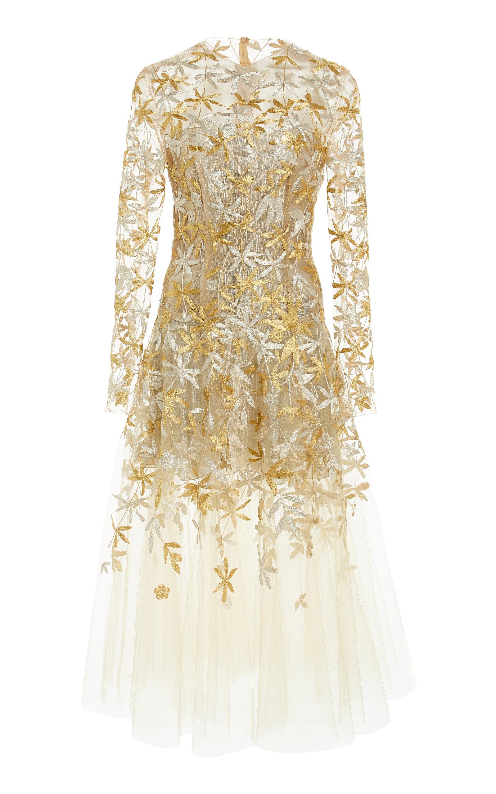 eb628673808 Oscar de la RentaFull Sleeve Embroidered Midi Dress. CLOSE. Loading
